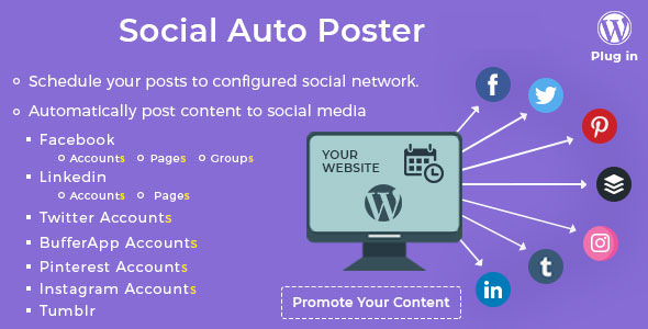 اشتراک گذاری خودکار مطالب وردپرس در شبکه های اجتماعی Social Auto Poster v2.9.10