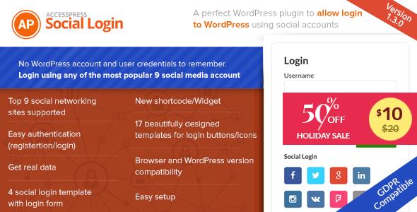 ورود و ثبت نام با اکانت شبکه های اجتمایی AccessPress Social Login v1.3.5