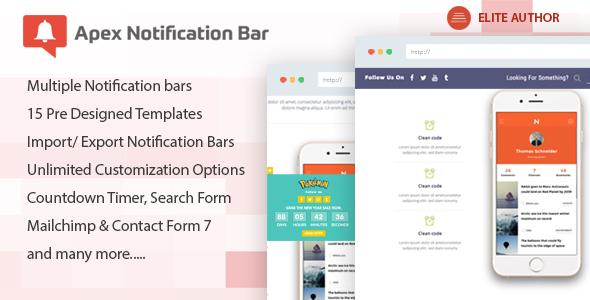 ارسال اطلاعیه و نوتیفکشن با Apex Notification Bar v2.0.7