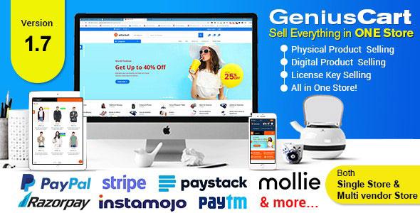 فروشگاه ساز محصولات فیزیکی و دیجیتال GeniusCart v1.7