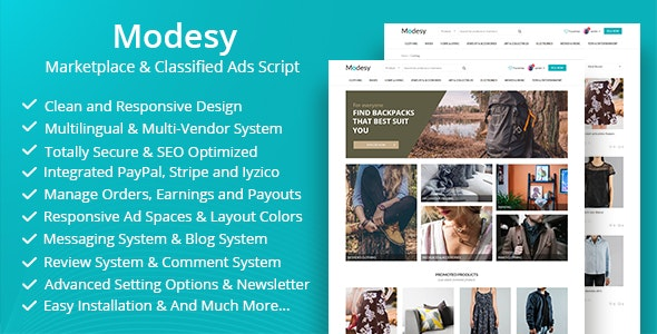 دانلود اسکریپت مارکت Modesy v1.4.1 - Marketplace & Classified Ads Script